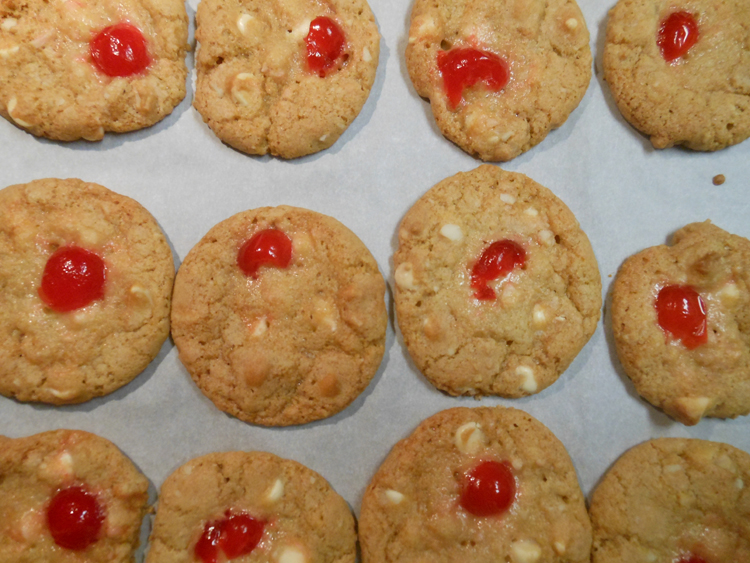 Cherry White Chocolate Cookies with Macadamia Nuts