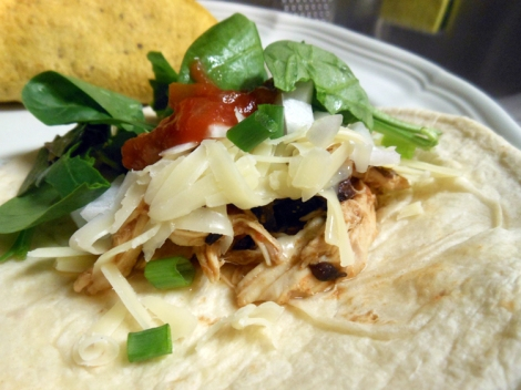 Skinny Slow Cooker Pulled Chicken Tacos